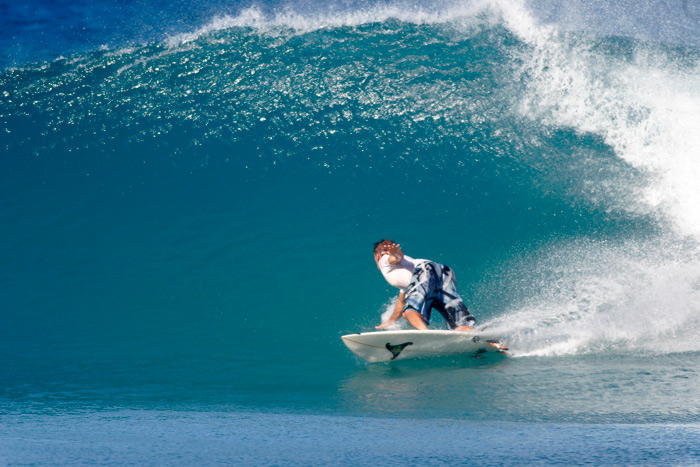 Blake Foster on a set wave in Aguadilla Bay. Photo: M-Dub.