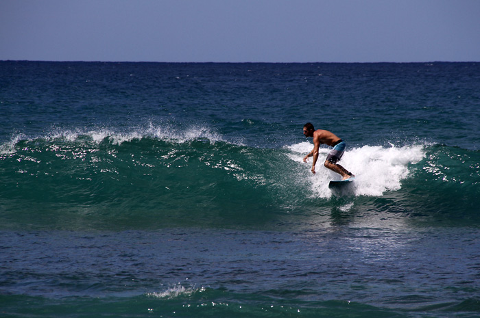 Gulf Coaster Mo Lelii surfing in PR today.
